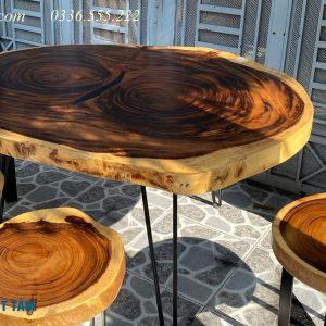 bàn ăn gỗ me tây nguyên khối giá rẻ