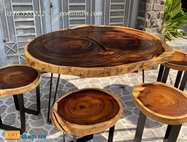 bàn ăn gỗ me tây nguyên tấm