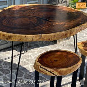 bàn tròn gỗ me tây tự nhiên