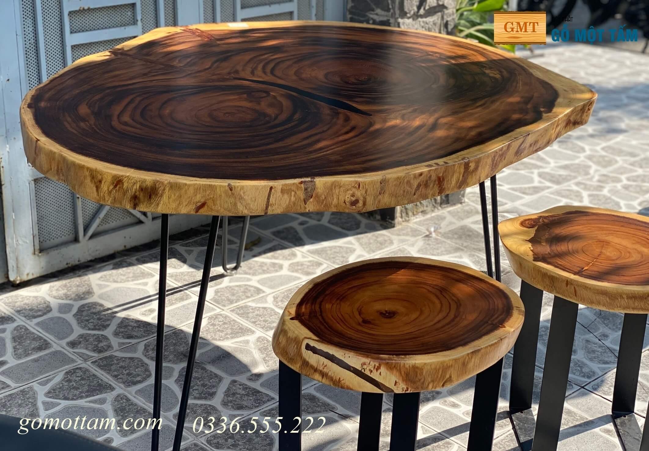 bàn ăn gỗ me tây nguyên tấm giá rê