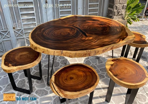 bàn gỗ me tây nguyên tấm