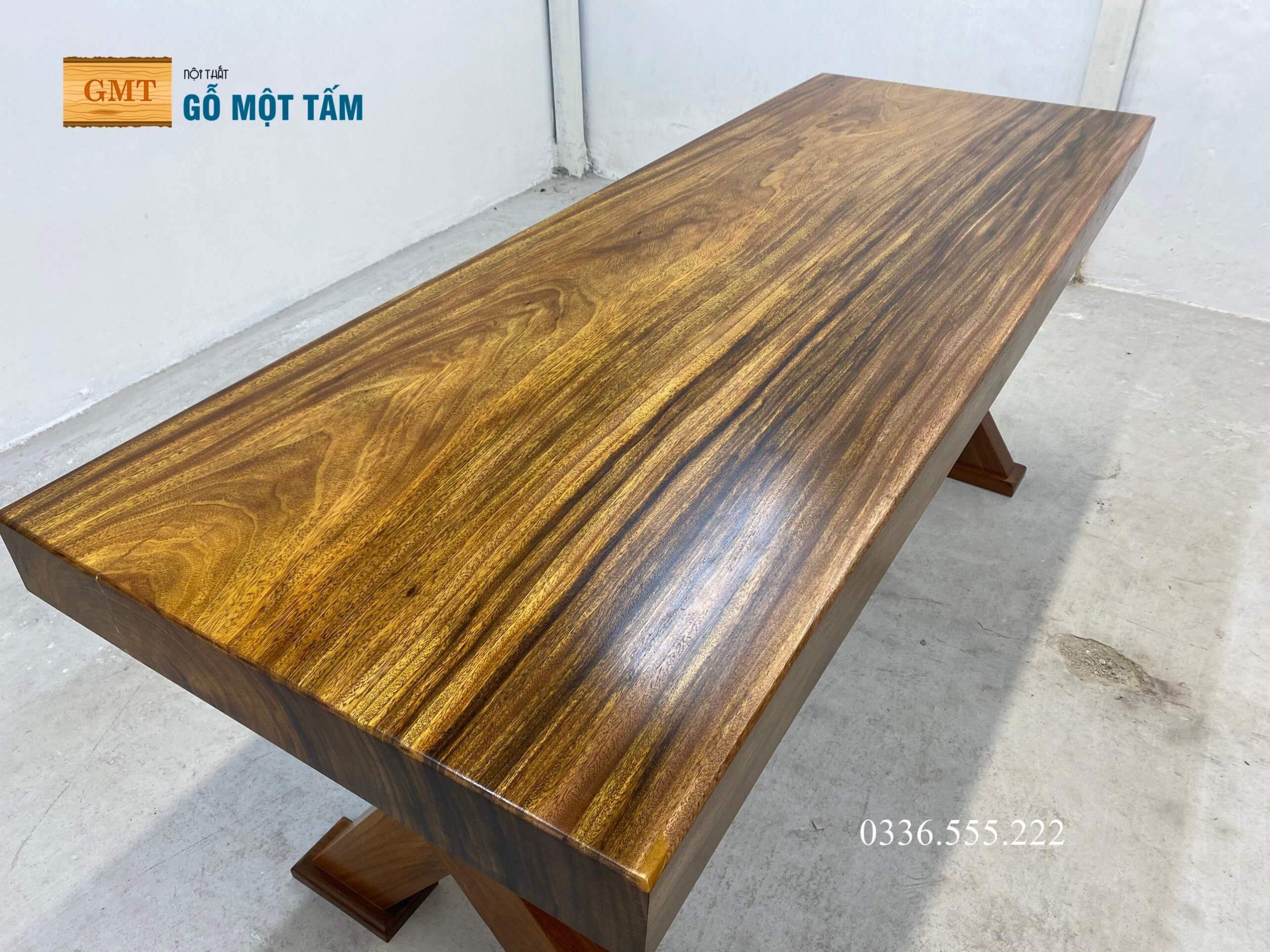 bàn làm việc gỗ kim nguyên tấm 7